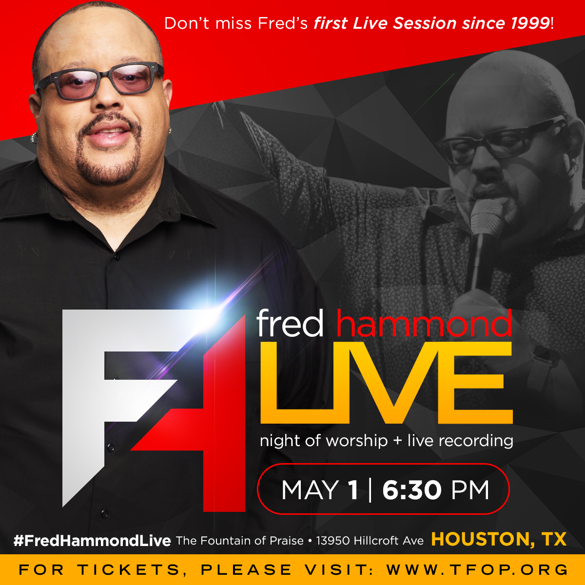 Gospel Icon Fred Hammond Hosts Live Recording on May 1st [@RealFredHammond]