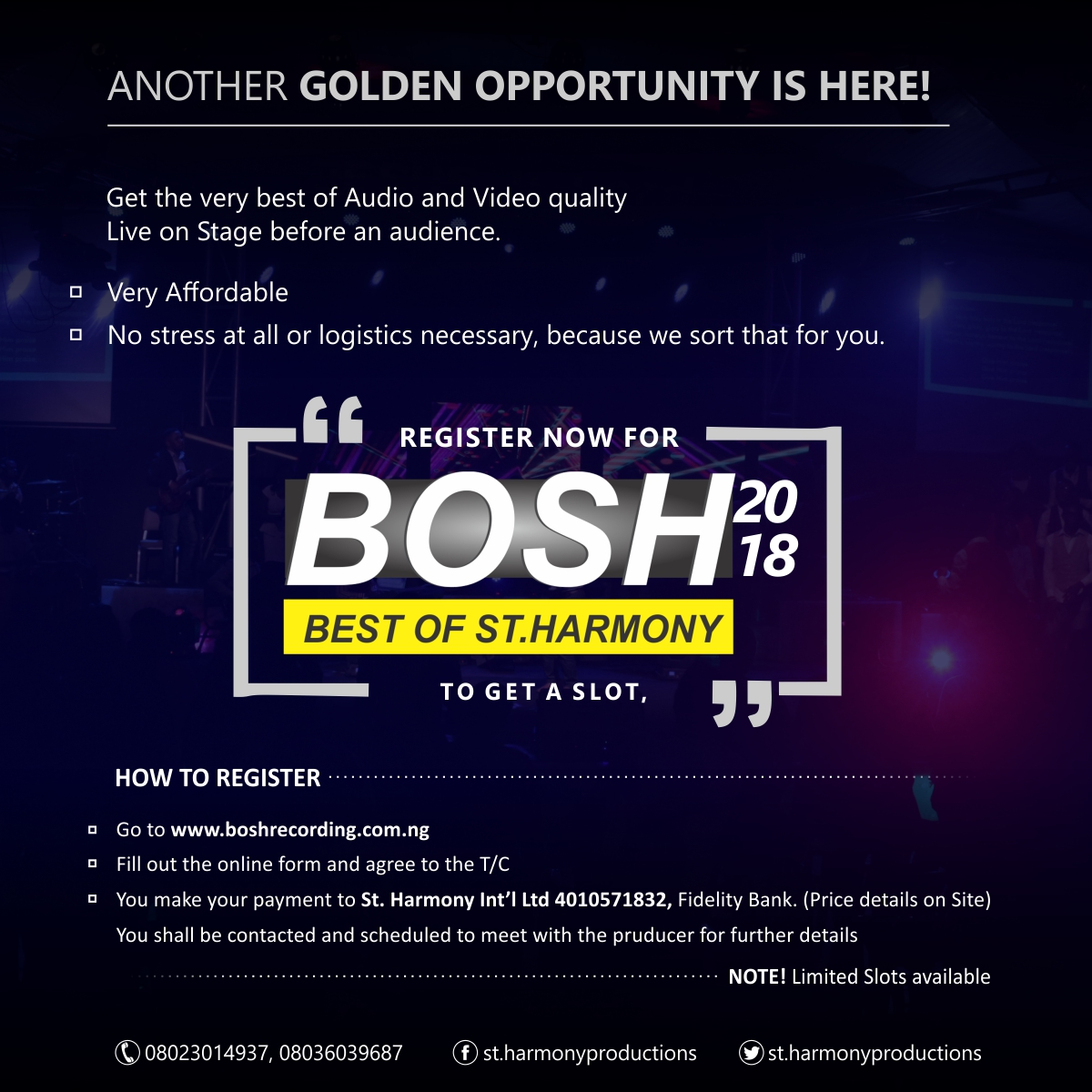 Registration For Best Of St. Harmony Live Recording [BOSH 2018] Is On - Limited Slots Available For Artiste! [@StHarmonyproductions]